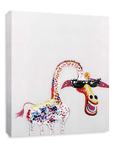 Art Hub Colorful Giraffe with Glasses Modern Pop Animal Art (Framed) Canvas Print Home Decor Wall Art, Gallery Wrap Inner Frame, - Framed Frog Art