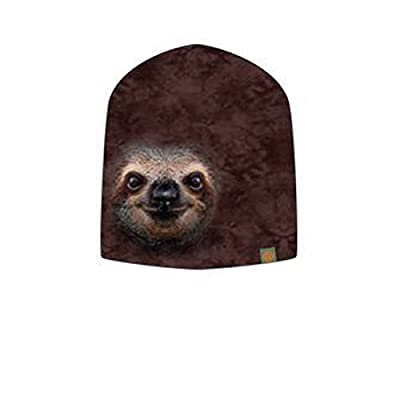 Otto The Mountain Sloth Face Poly Jersey Slouch Beanie - Sloth Beanie