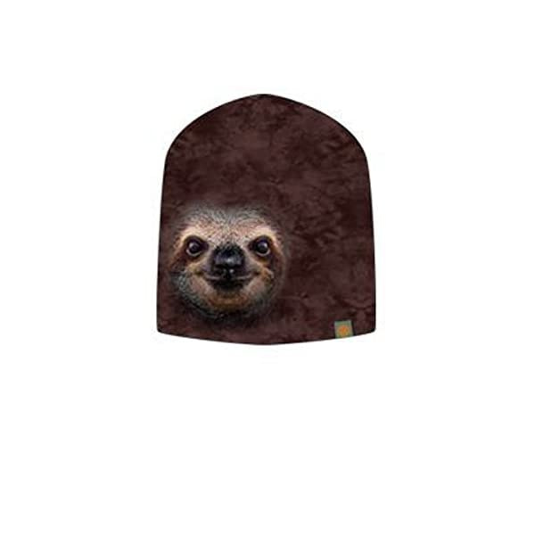 Otto The Mountain Sloth Face Poly Jersey Slouch Beanie -
