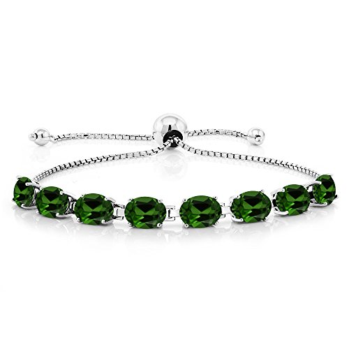 9.60 Ct Oval Green Chrome Diopside 925 Sterling Silver Adjustable Tennis (Diopside Sterling Silver Bracelet)