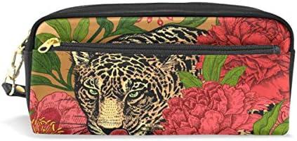 Estuche para lápices, diseño de leopardo y peonías, impermeable, 2 compartimentos, el mejor regalo para niños, niñas y niños: Amazon.es: Oficina y papelería