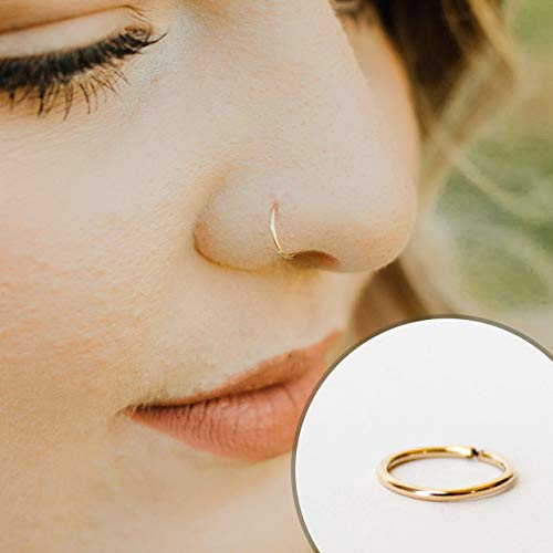 22g 7mm14k Solid Gold Snug Fitting Nose Ring Hoop BEST SELLER