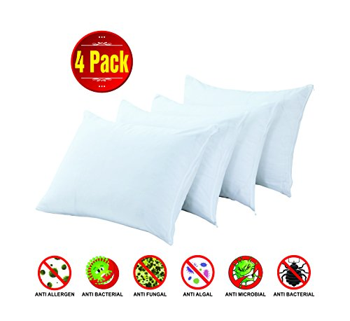Solutions Antibacterial (4 Pack Standard 20x26 Inches Size Premium 100% Cotton Non Noisy Zippered Anti Allergy Bed Bug Dust Mite Proof Pillow Case Protector Anti Bacterial Covers Breathable Non Crinky Luxury Coating Free)
