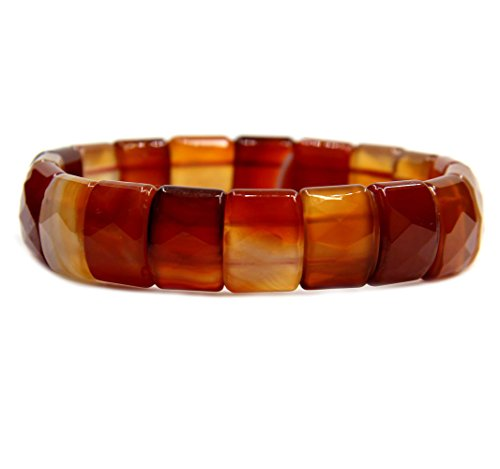 Red Agate Genuine Semi Precious Gemstone 15mm Square Grain Faceted beaded Stretchable Bracelet ()