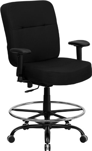 (Flash Furniture HERCULES Series Big & Tall 400 lb. Rated Black Fabric Drafting Chair with Adjustable Arms)