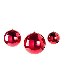 Set of 3 Outdoor Oversized Shatterproof Hanging Christmas Ball Ornaments - One each 5.5'', 7.75'' and 9.75'' dia. - Red