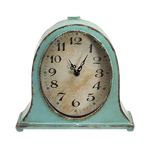25 Home Decor American Retro Table Clock Metal Green Frame Silent Non-ticking Old-fashioned Desktop Decoration Desk Clock TV Cabinet Side Pendulum (Metal Retro Tv Clock)
