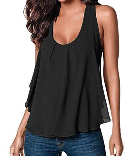 AJ FASHION - Camiseta sin mangas - Básico - Sin mangas - para mujer negro