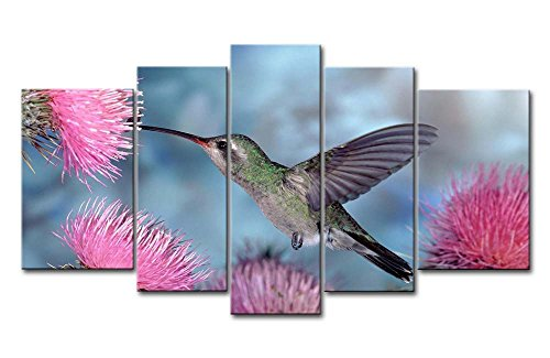 Pink 5 Panel Wall Art Painting Hummingbird In Pink Water Pictures Prints On Canvas Animal The Picture Decor Oil For Home Modern Decoration Print