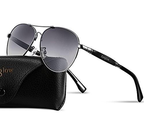 Titanium Sunglasses Aviator (EyeGlow Aviator Brand Designer Sunglasses Men and Women Polarized Lens Memory Titanium Material (Grey))