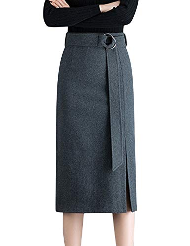 Springrain Women's High Waist Stretch Wool Blend Midi Pencil Skirt with Belt (Gray, Small)