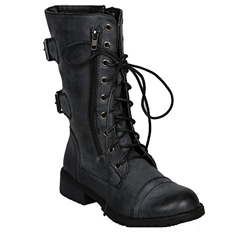 Nature Breeze Lug-12 Womens Military Combat Boot Distressed (6, Black) (Womens Military Boots)