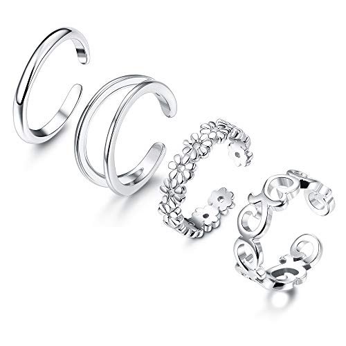 Adramata 4 Pcs 925 Sterling Silver Open Toe Rings for Women Girls Adjustable Flower Celtic Knot Simple Toe Ring Gifts Jewelry Set ()