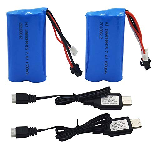 Blomiky 2 Pack H101 7.4V 1500mAh Battery and USB Charger Cable for T2 H105 H103 H101 Remote Control RC Boat H101 Battery & USB 2