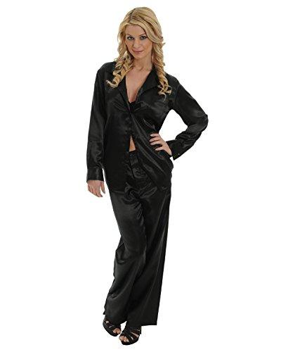 Womens Black Satin Charmeuse Pajamas 2 Pc Set Sleep Shirt And Lounge Pants Sizes: Medium - Charmeuse Pajamas