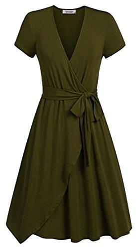 Vintage Swing Belt Sleeve Army Green Cromoncent Ruched V Womens Short Dresses Neck H5W6Rqw