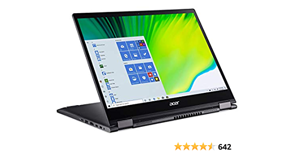 """Acer Spin 5 Convertible Laptop, 13.5"""" 2K 2256 x 1504 IPS Touch, 10th Gen Intel Core i7-1065G7, 16GB LPDDR4X, 512GB NVMe SSD, Wi-Fi 6, Backlit KB, FPR, Rechargeable Active Stylus, SP513-54N-74V2"""