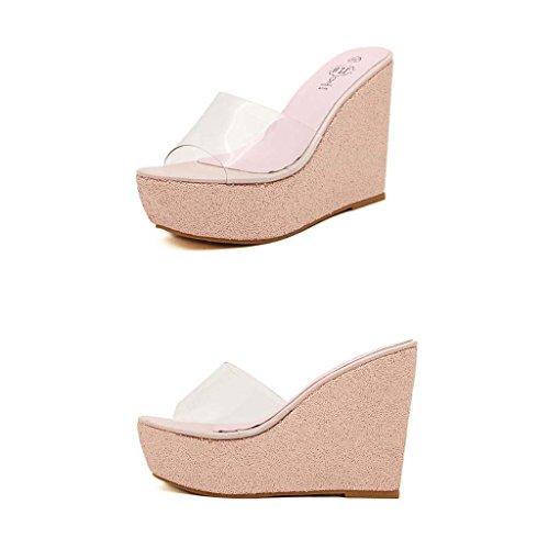 SHEO sandalias de tacón alto Plataforma impermeable de lentejuelas transparente para mujer con sandalias Pink
