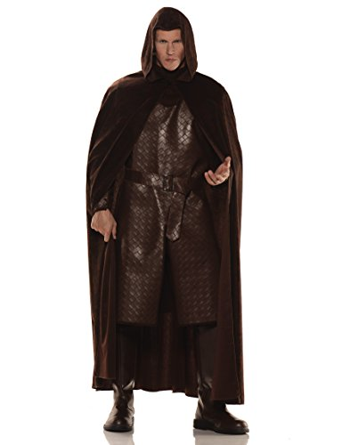 [Deluxe Hooded Cape - Brown] (Man Of The Nights Watch Costume)
