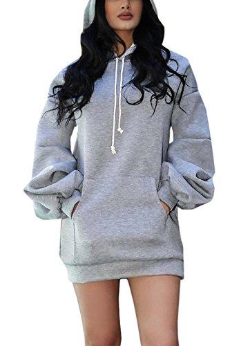 Manches Tunique Hauts Gris Sweat de Jeune Mini Unie Long Tops Couleur Casual Fashion Fte Shirts Automne Robes Capuche Sweats Sweaters Femmes Pulls Chandail Hiver Longues qx8OtO