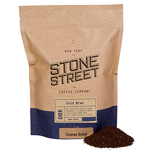Stone Street Coffee Cold Brew Reserve Colombian Single Origin Coarsely Ground Coffee - 1 lb. Bag - Dark Roast (Milk Stones Glass)