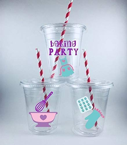 Baking Party Cups Set of 12 With Lids Straws Bake -