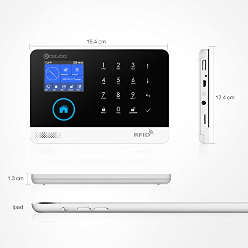 DIGOO DG-HAMA Full Touch Screen Wireless Home and Business Security Alarm  System, With Auto Dial and APP Control Function, Come with PIR Detector,