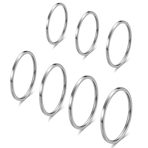 INRENG 7pcs 1mm Stainless Steel Women's Plain Band Thin Knuckle Stacking Midi Rings Comfort Fit Size 3 to 9, ()