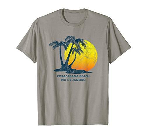 Copacabana Beach, Rio de Janeiro Retro sunset coconut palm  T-Shirt