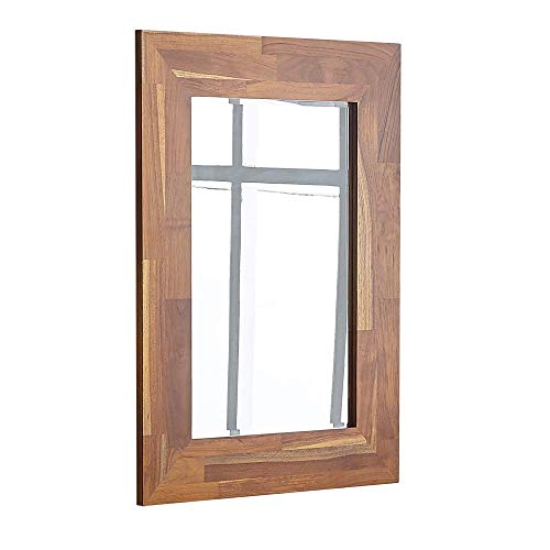 Facilehome Wall Mounted Decorative Beveled Mirror with Teak Wood Frame Mirrored Rectangle - Bathroom Framed Teak Mirrors