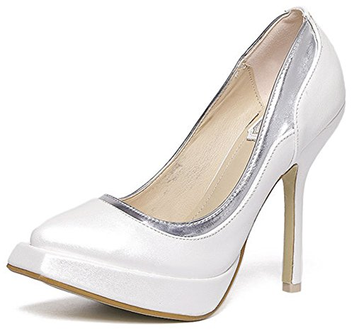 Idifu Dressy Square Toe Slip On Pumps Tacchi A Spillo Alti Bianchi 2