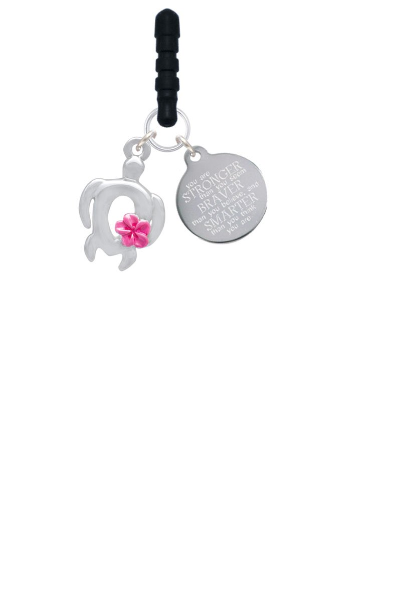Delight Jewelry Open Sea Turtle with Hot Pink Plumeria Stronger Braver Smarter Phone Charm by Delight Jewelry