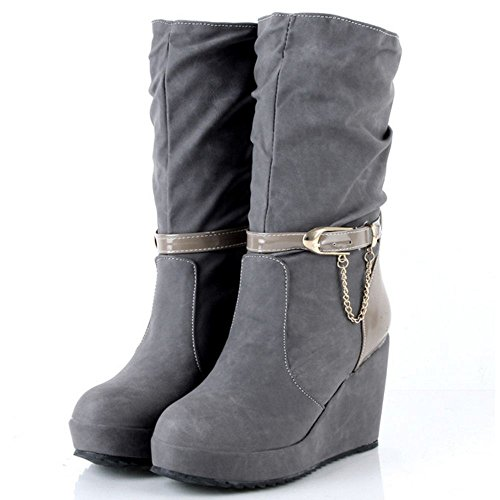 Slouch Comfort Women Mid Wedge Pull Calf Boots COOLCEPT Gray On TnS1F1q