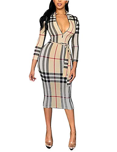 3/4 Sleeve Plaid Print Bodycon Midi Dress with Belt for Young Ladies Plaid M (Check Burberry Dress)