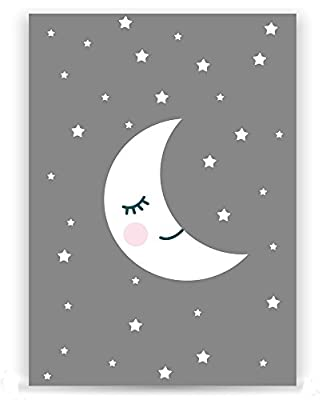 3x baby nursery decor wall prints - set 3 baby designs - moon, cloud, star, nursery art, nursery decor, baby kids room, wall art, 8x12, unframed