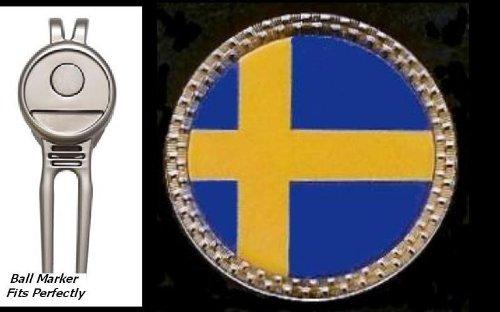 Gatormade国旗ゴルフボールマーカー磁気Divot Toolスウェーデン   B009YJIR0S