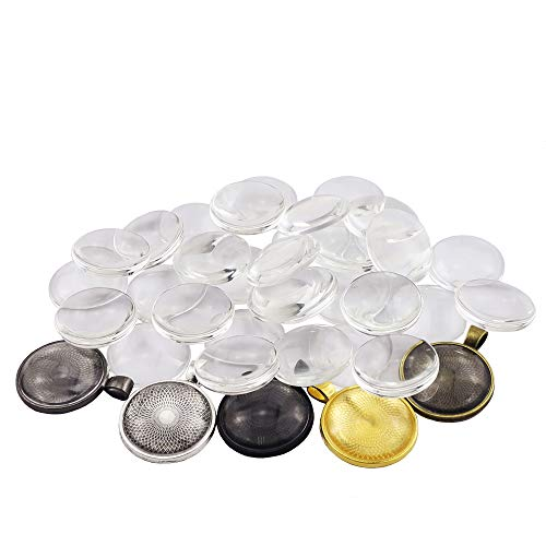 Oopsu 40PCS Round Bezel Pendant Trays and 40 Glass Cabochon Dome(8 Colors,25mm//1 inch Diameter)