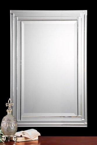 Amazon.com: Dazzling Layered Glass Frame FRAMELESS Wall Mirror: Home ...