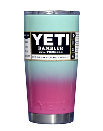 YETI Coolers Custom Powder Coated Stainless Steel 20 Ounce (20oz) (20 oz) Rambler Tumbler Cup Mug with Lid (Teal Seafoam Pink Ombre)