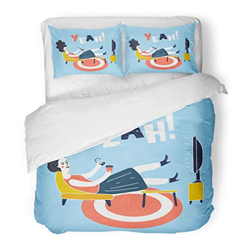 Full Inactive Set - Emvency Bedding Duvet Cover Set Full/Queen (1 Duvet Cover + 2 Pillowcase) Movie Cartoon of Woman Watching Television Armchair and Sitting in Chair Drinking Hotel Quality Wrinkle and Stain Resistant