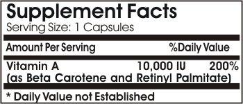 Vitamin A (Emulsified Dry) 10,000 IU 100 Capsules * Baylon Naturals Supplements ALL NATURAL!!