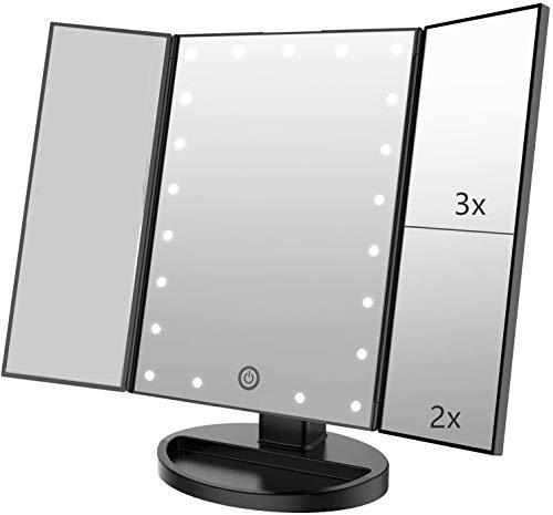Espejo de Maquillaje con LED,Espejo de Maquillaje Triptico con Aumento 1x, 2X, 3X, Espejo Cosmetico Pantalla Tactil en Iluminacion 21 Led,Adjustable 180º (Negro)
