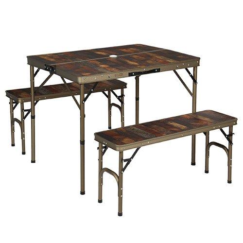 クイックキャンプ アウトドア 折りたたみ テーブル チェアセット 4人用 ピクニック セット ヴィンテージライン B柄 QC-PT90Vb B07BBXK18B