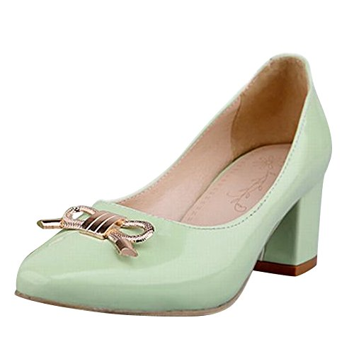 Carol Shoes Women's New Style Mid Heel Metal Bows Court Shoes Light Green uWPjB