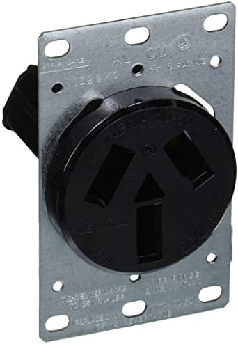 Leviton 5206-S10 50 Amp, 125/250 Volt, NEMA 10-50R, 3P, 3W, Flush Mounting Receptacle, Straight Blade, Industrial Grade, Non-Grounding, Side Wired, Steel Strap, Black