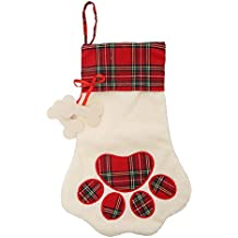 Christmas Paw Stocking for Pet Dog Cat Large Chirstmas Stockings Bone for personalize (red)