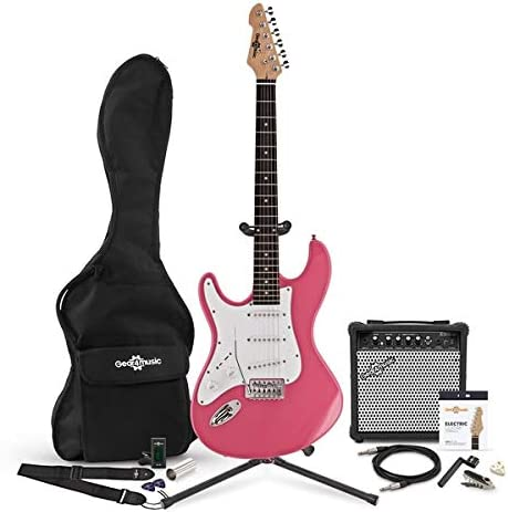 LA Left Handed Electric Guitar by Gear4music Pink + Complete Pack ...