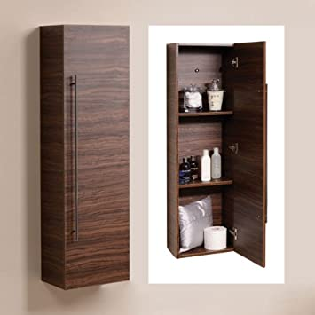 wall mounted bathroom cabinets. 120cm Wall Mounted Bathroom Tall Cabinet Wood Shelving Hung Furniture Walnut