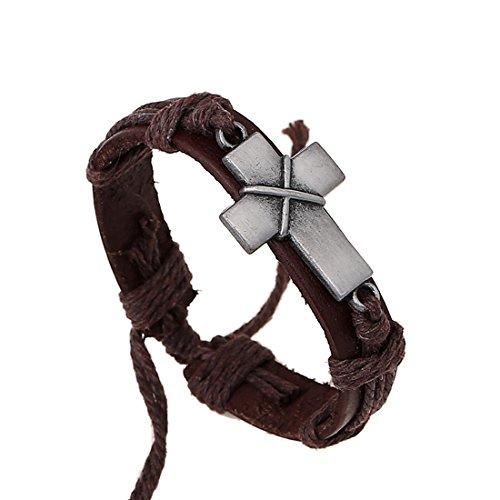 Brown Criss Cross Leather Bracelet Religious Christian Surfer Bangle for Women