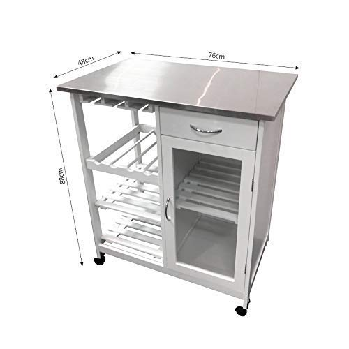 MAIMAITI Carro de Cocina, Blanco, Tapa de Acero Inoxidable, 76x48x88cm HKD02-WEI: Amazon.es: Hogar